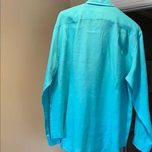 Joseph & Lyman Shirts - 100% turquoise linen long sleeve men's shirt
